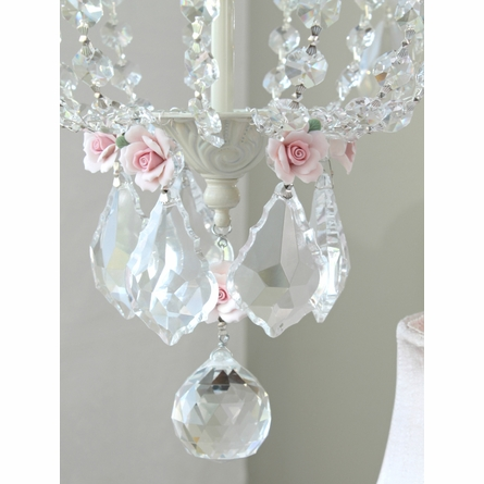 6 Light Empire Chandelier with Pink Porcelain Roses