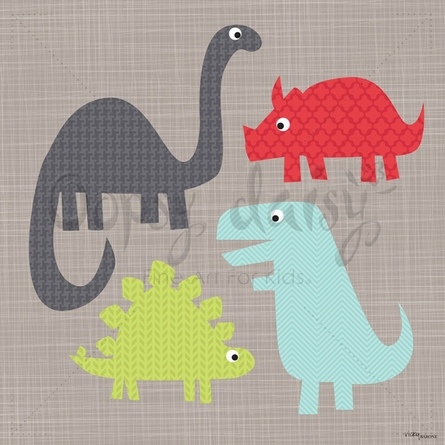 A Gathering of Dinosaurs Canvas Wall Art