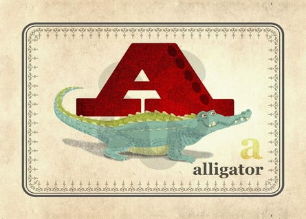 A is for Alligator Canvas Wall Art