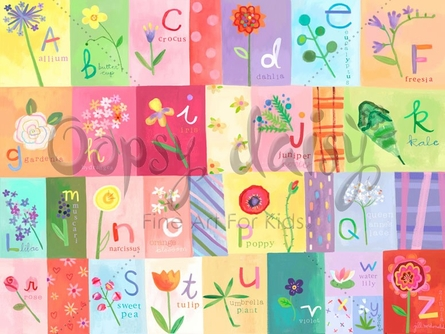 A-Z Flowers Canvas Wall Art