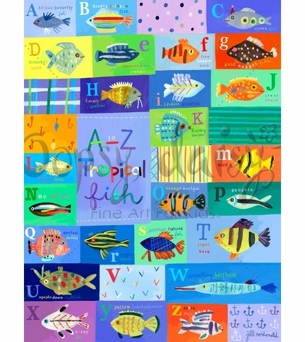 A-Z Tropical Fish Canvas Wall Art