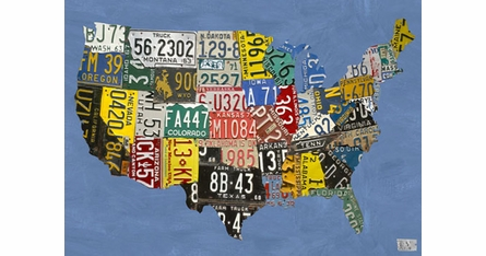 License Plate USA Placemats - Set Of Four
