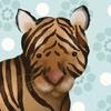 Aaron the Tiger in Blue Canvas Wall Art