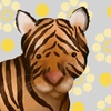 Aaron the Tiger Yellow and Grey Canvas Wall Art