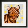 Aaron the Tiger Yellow and Grey Framed Art Print