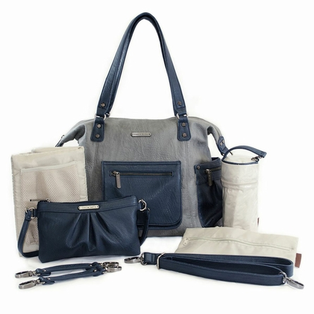 Abby Diaper Bag - Gray and Navy