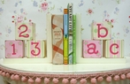 ABC 123 Bookends in Pink & Green