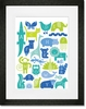 ABC Animalia Blues Framed Art Print