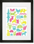 ABC Animalia Pinks Framed Art Print