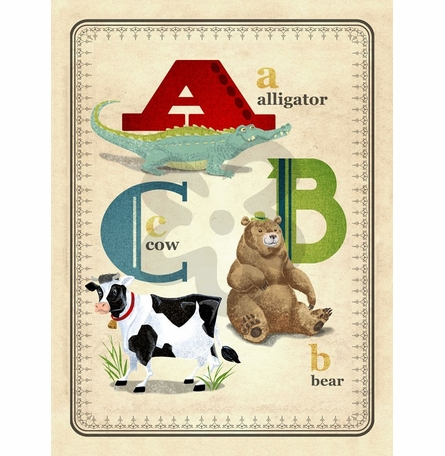 ABC Animals Canvas Wall Art