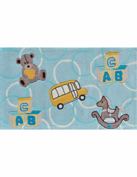 ABC Blue Bear Rug