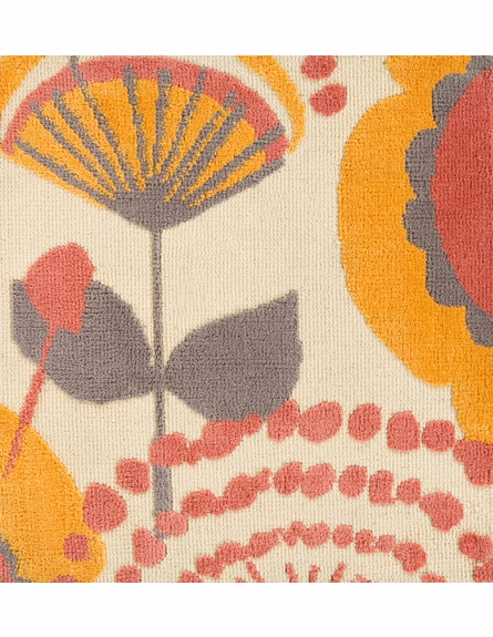 Abigail Floral Rug in Cream and Burnt Orange