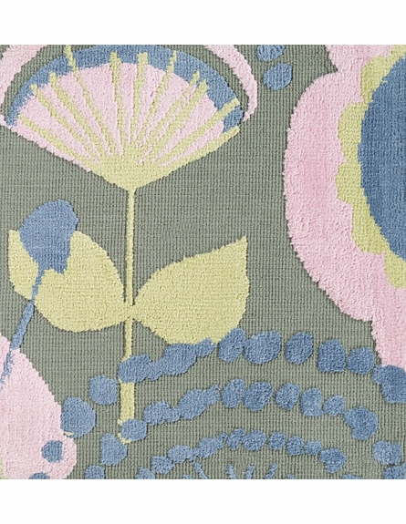 Abigail Floral Rug in Moss and Pastel Pink
