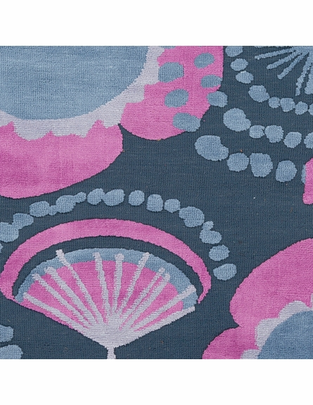 Abigail Floral Rug in Slate and Magenta