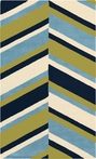 Abigail Slanted Stripes Rug in Navy and Lime
