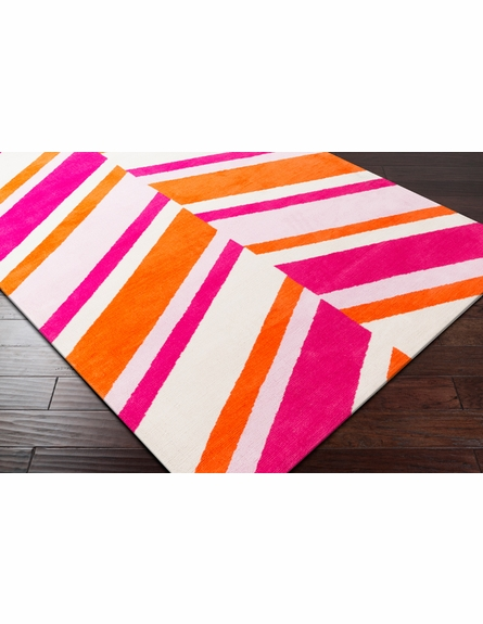Abigail Slanted Stripes Rug in Poppy