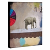 Abstract Circus Elephant Wrapped Canvas Art