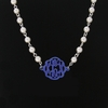 Acrylic Flourish Monogram Pearl Silver Necklace