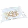 Acrylic Fluted Corner Tray with Gold Monogram