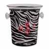 Acrylic Ice Bucket with Zebra Monogram Neoprene Sleeve