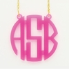 Acrylic Large Circle Monogram Necklace