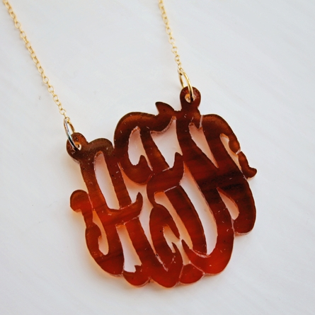 Acrylic Monogram Necklace - Script