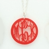 Acrylic Petite Round Rimmed Monogram Necklace