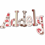 Addely Pink and Brown Hand Painted Wall Letters