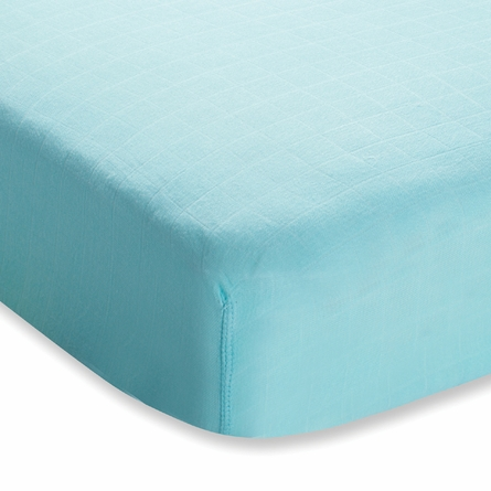 aden + anais Bamboo Crib Sheet in Azure Solid Aqua