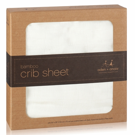aden + anais Bamboo Crib Sheet in Earthly White