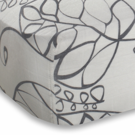aden + anais Bamboo Crib Sheet in Moonlight Leafy