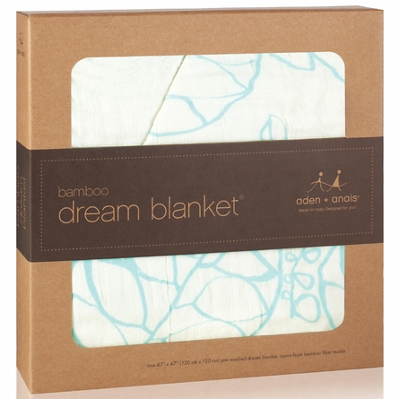 aden + anais Bamboo Dream Blanket in Azure Leafy