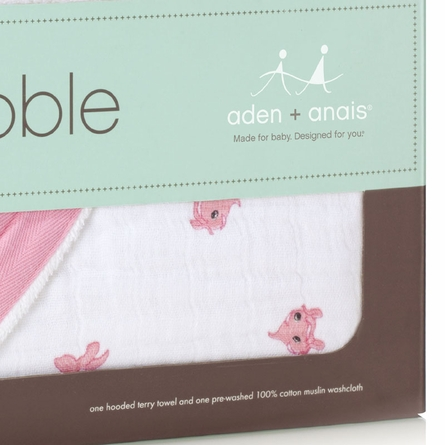 aden + anais Bathing Beauty Hooded Towel & Washcloth Set in Pink