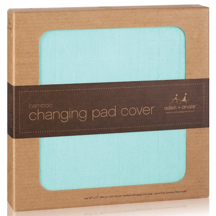 aden + anais Changing Pad Cover in Azure Solid Aqua