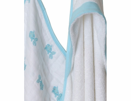 aden + anais Hide & Sea Hooded Towel & Washcloth Set in Blue