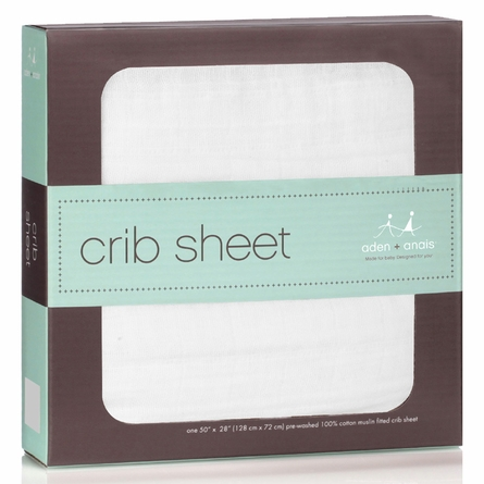 aden + anais Solid White Classic Crib Sheet