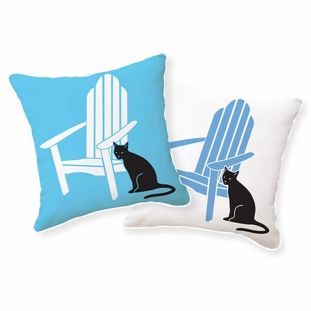 Adirondack Chair with Black Cat Reversible Throw Pillow