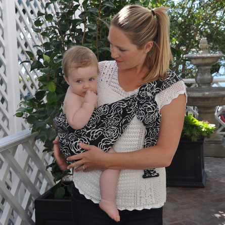 Adjustable Baby Sling in Black Camellia