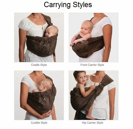 Adjustable Baby Sling in Signature Black with Embroidery