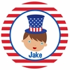 Adorable Me July 4th Boy Personalized Melamine Plate