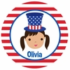 Adorable Me July 4th Girl Personalized Melamine Plate