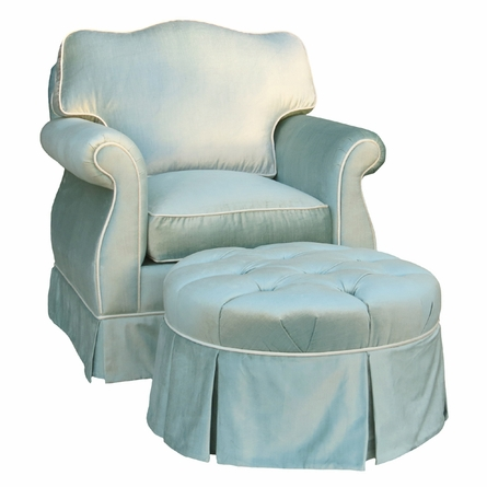 Empire Glider Rocker - Aspen Seafoam with Cream Piping