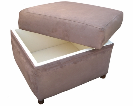 Manhattan Stationary Ottoman - Faux Suede Mocha