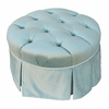 Park Avenue Round Gliding Ottoman - Aspen Seafoam with Cream Piping