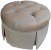 Adult Park Avenue Round Stationary Ottoman - Aspen Silver