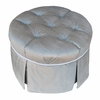 Park Avenue Round Stationary Ottoman - Aspen Silver with White Piping
