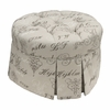 Park Avenue Round Stationary Ottoman - Provence Script