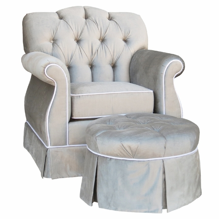 Adult Tufted Empire Glider Rocker - Aspen Silver with White Piping
