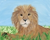 African Savanna Lion Stretched Canvas Art
