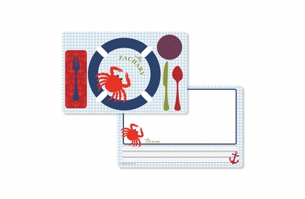 Ahoy Crabby Personalized Kids Reversible Placemat